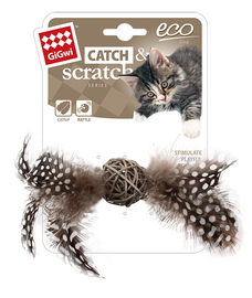 GIGWI - Eco Line Catch&Scratch with Rattle Wood/Feather/Rattan