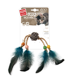 GIGWI - Eco Line Catch&Scratch with Rattle Wood/Feather /Rattan
