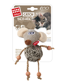GIGWI - Eco Line Mouse Catch&Scratch with catnip Rattan/Wood/Plush