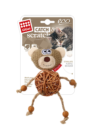 GIGWI - Eco Line Bear Catch&Scratch with catnip Rattan/Wood/Plush