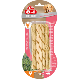 8in1 Delights Pork Twisted Sticks XS - 10st