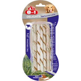 8in1 Beef Delights Twisted Sticks XS - 10st
