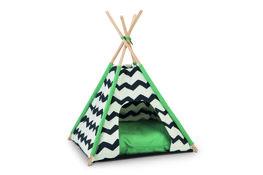 Tipi Tent Kioni Zwart/Wit/Groen - 50x50x80cm
